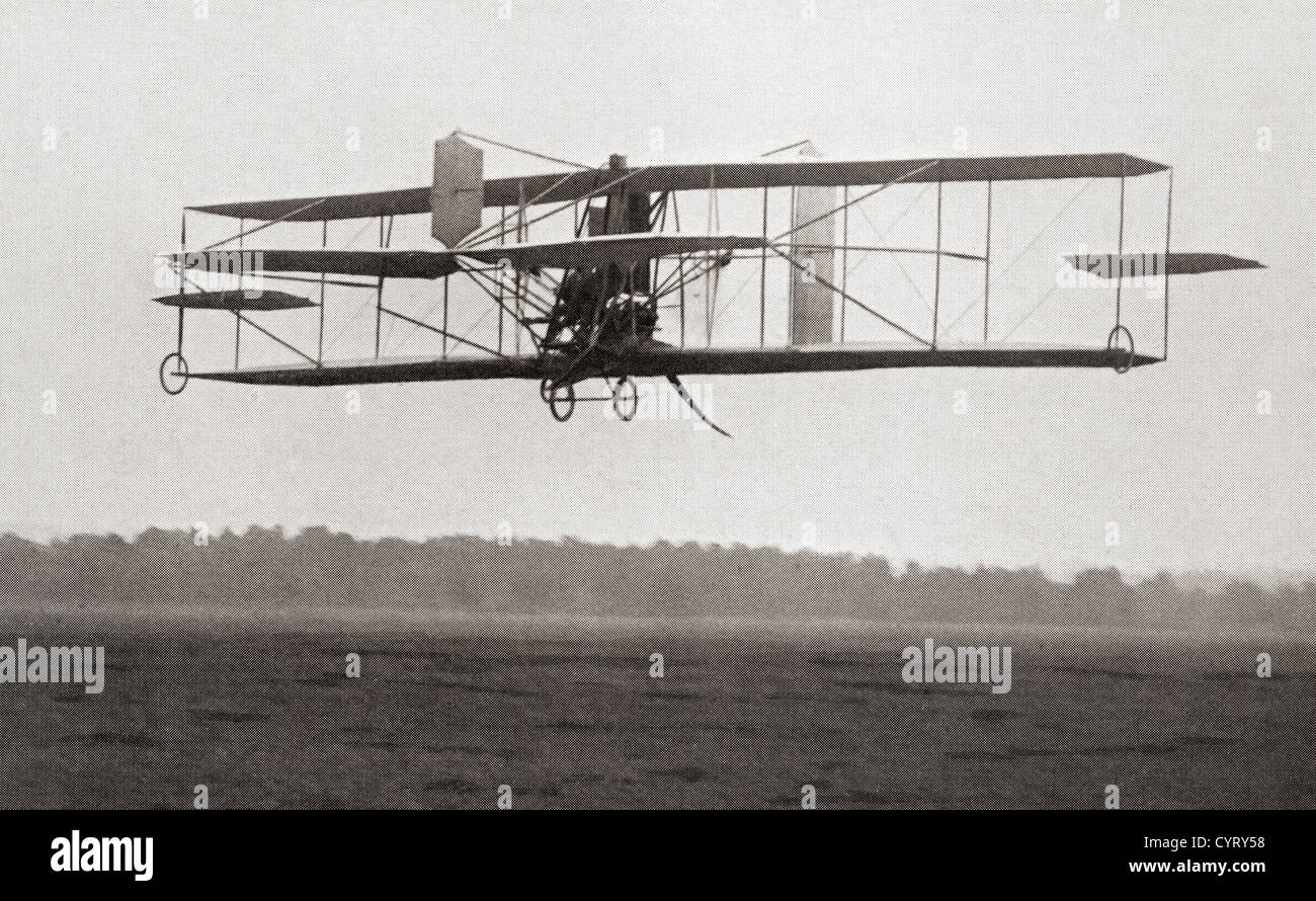 Cody's Biplane in the air in 1909. Samuel Franklin Cowdery, later known as Samuel Franklin Cody, 1867 –1913. - Stock Image