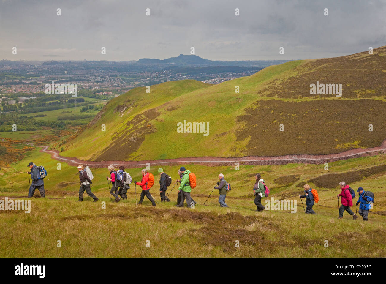 A Rambling Club in the Pentland Hills overlooking Edinburgh - Stock Image
