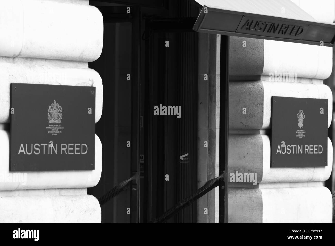Two nameplates for the Austin Reed store in Regent Street London - Stock Image