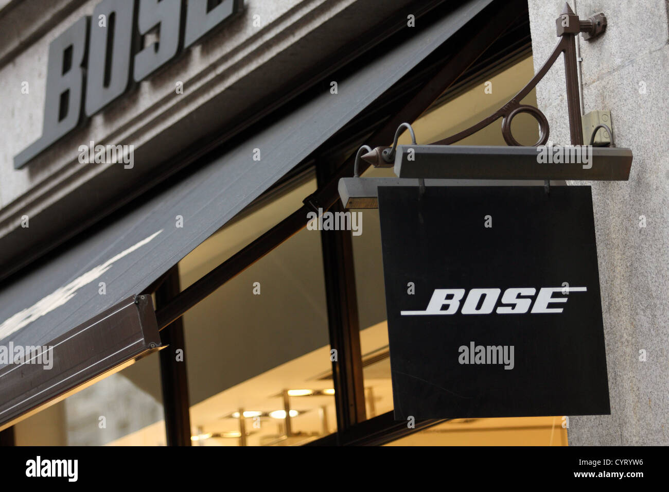 A hanging sign for the Bose store in Regent Street London - Stock Image