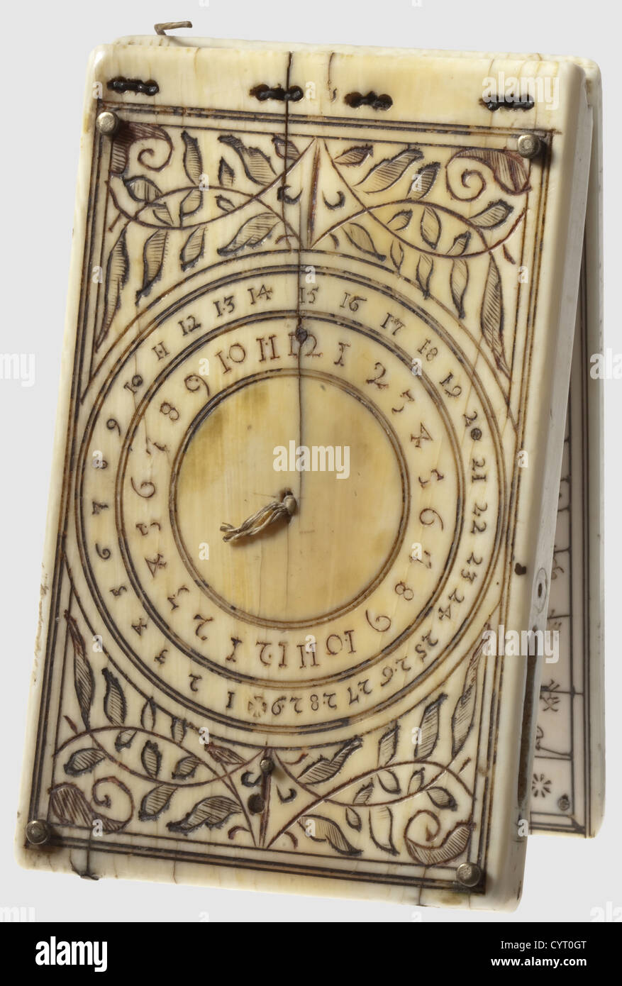 A German ivory folding sundial, Nuremberg, Leonhard Miller, 1617 Of  rectangular form with finely engraved and chased decoration.