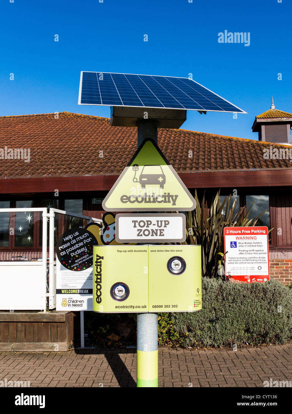 Ecotricity electric car charging point in Taunton Dean Services on the M5, Somerset, England Stock Photo