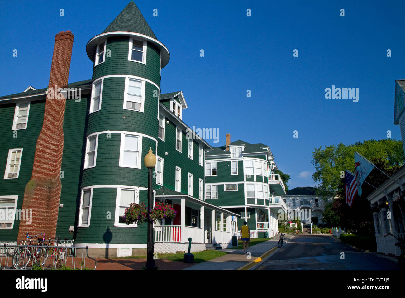 Historic building on Mackinac Island located in Lake Huron, Michigan, USA. Stock Photo