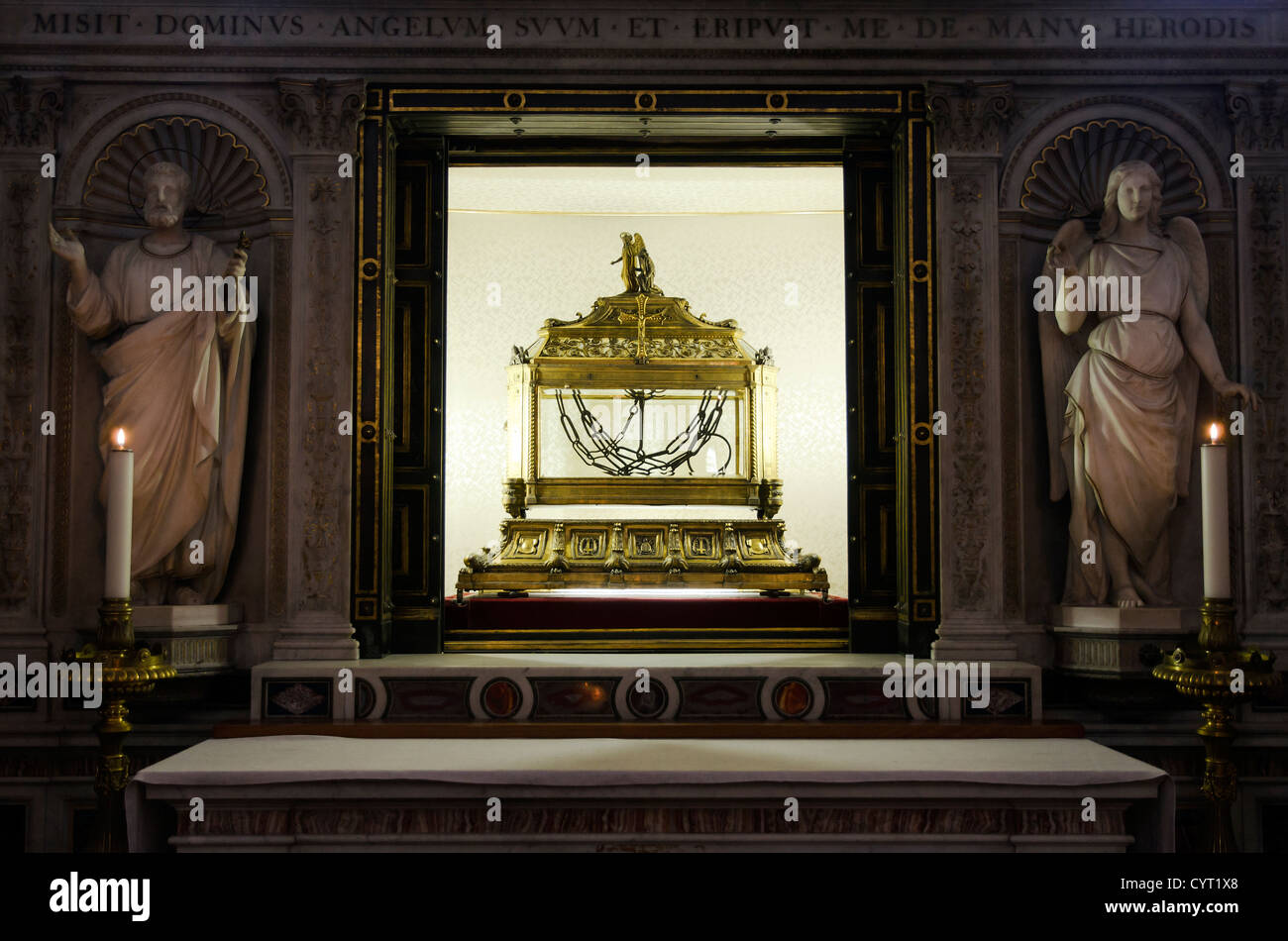 Reliquary containing the chains of St. Peter in San Pietro in Vincoli church - Rome, Italy Stock Photo