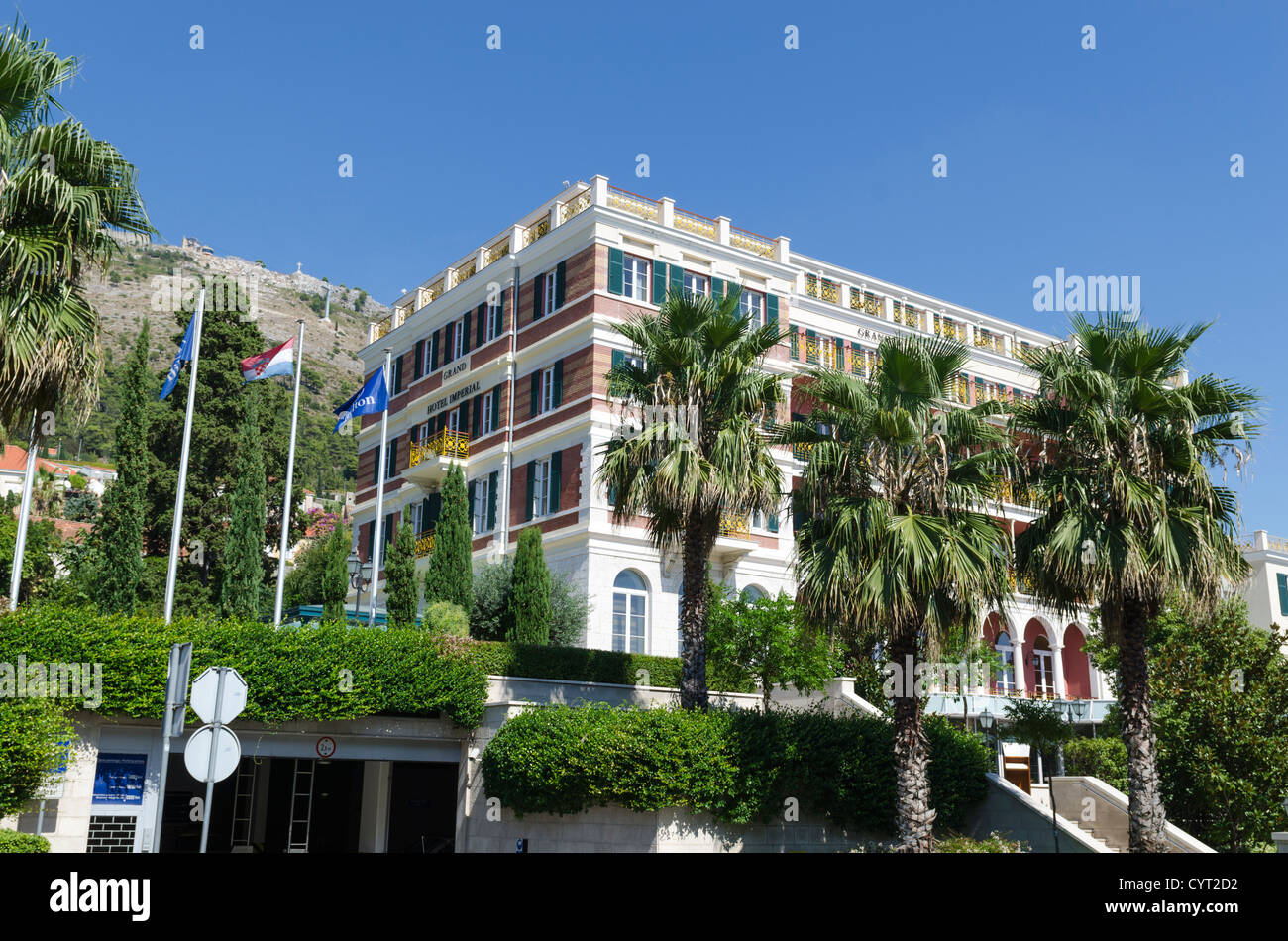 [old town] Dubrovnik resort imperial parking palm Stock Photo