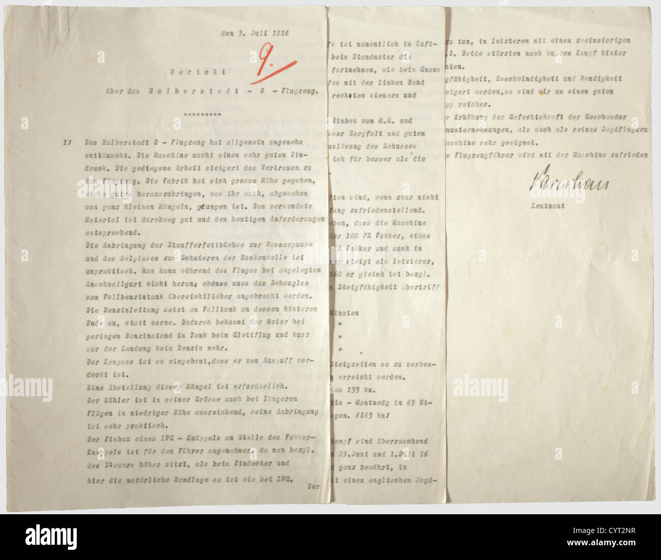 Leutnant Otto Parschau(1890 - 1916),a mission report of July 3rd 1916 Three typed pages with his ink signature at Stock Photo