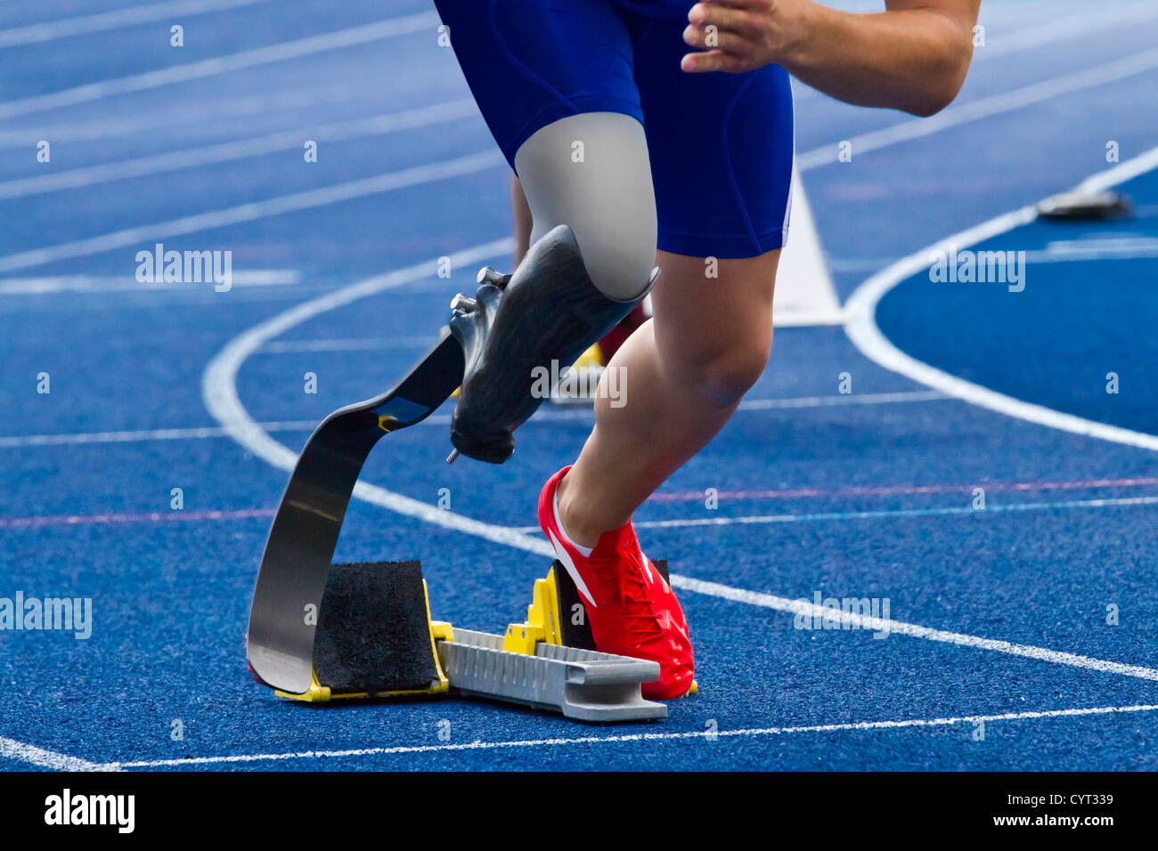 athlete with handicap starts the race - Stock Image