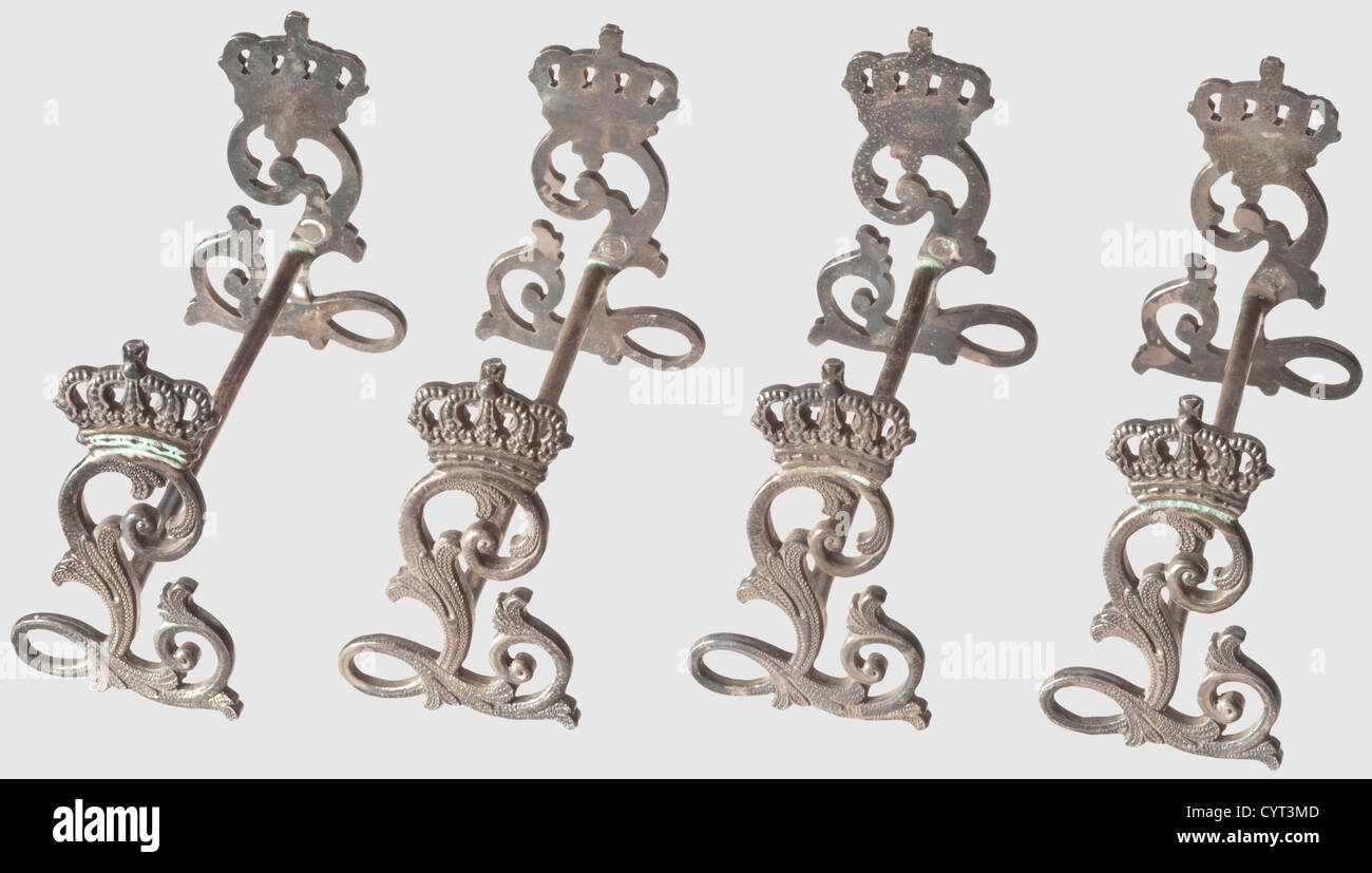 King Ludwig II of Bavaria (1845 - 1886), four little knife rests from the King's silverware As aforesaid. Total - Stock Image