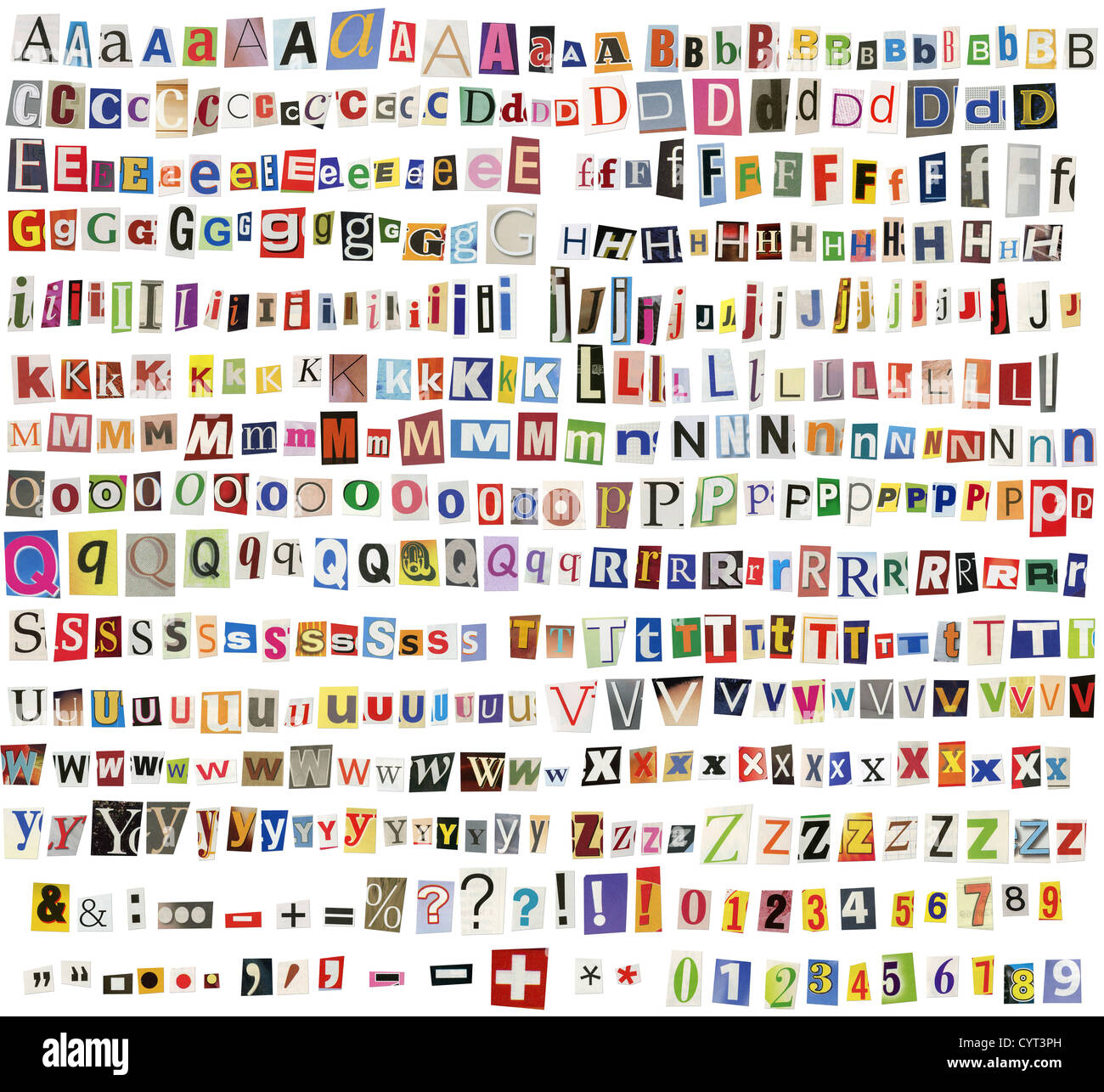 Newspaper Magazine Alphabet With Letters Numbers And Symbols Stock