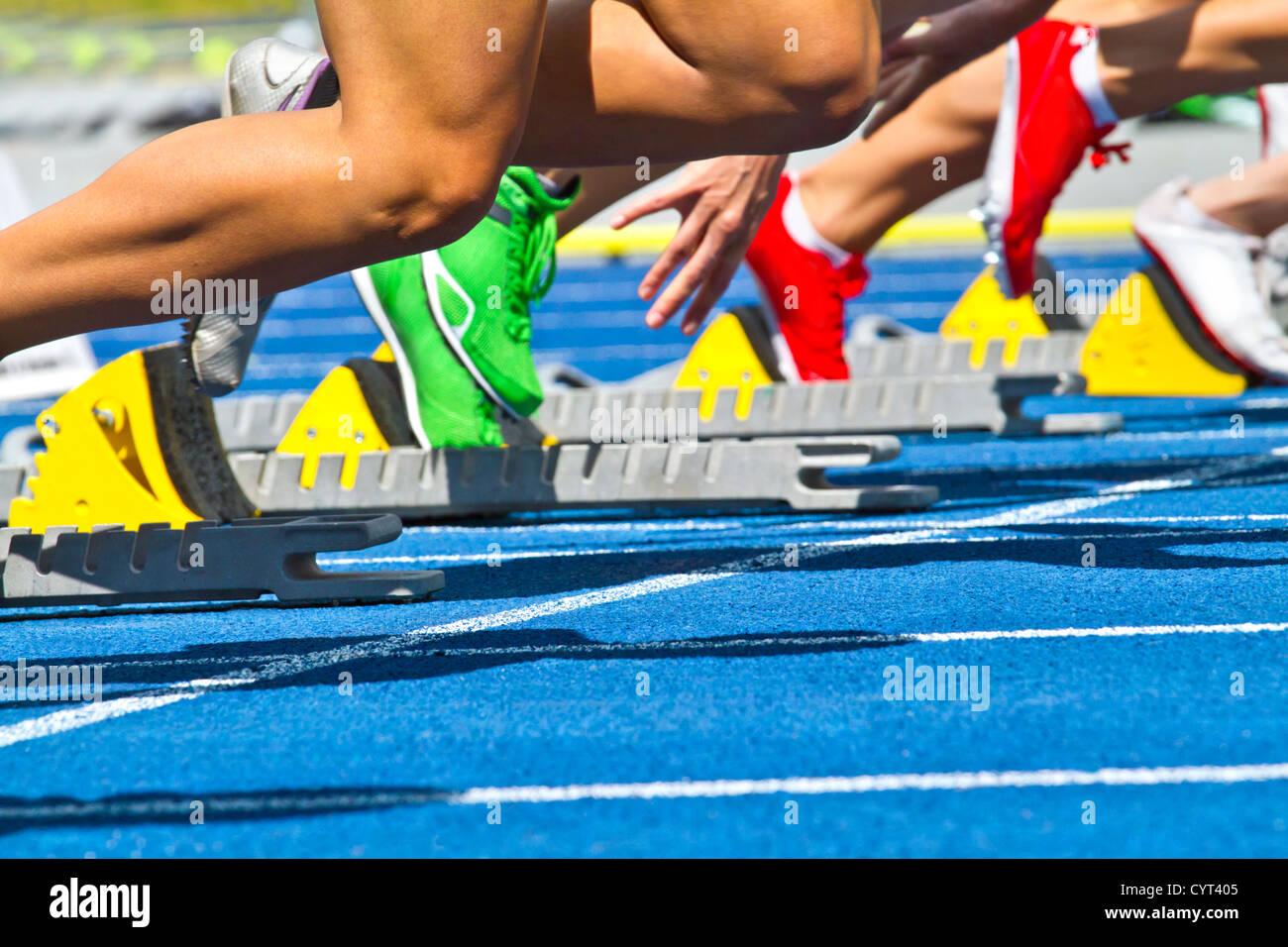 female sprinters start - Stock Image