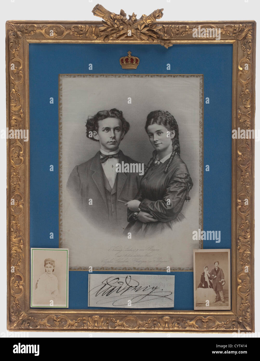 King Ludwig II of Bavaria and Duchess Sophie in Bavaria, an engagement portrait on silk, 1867 Lithograph on silk, Stock Photo