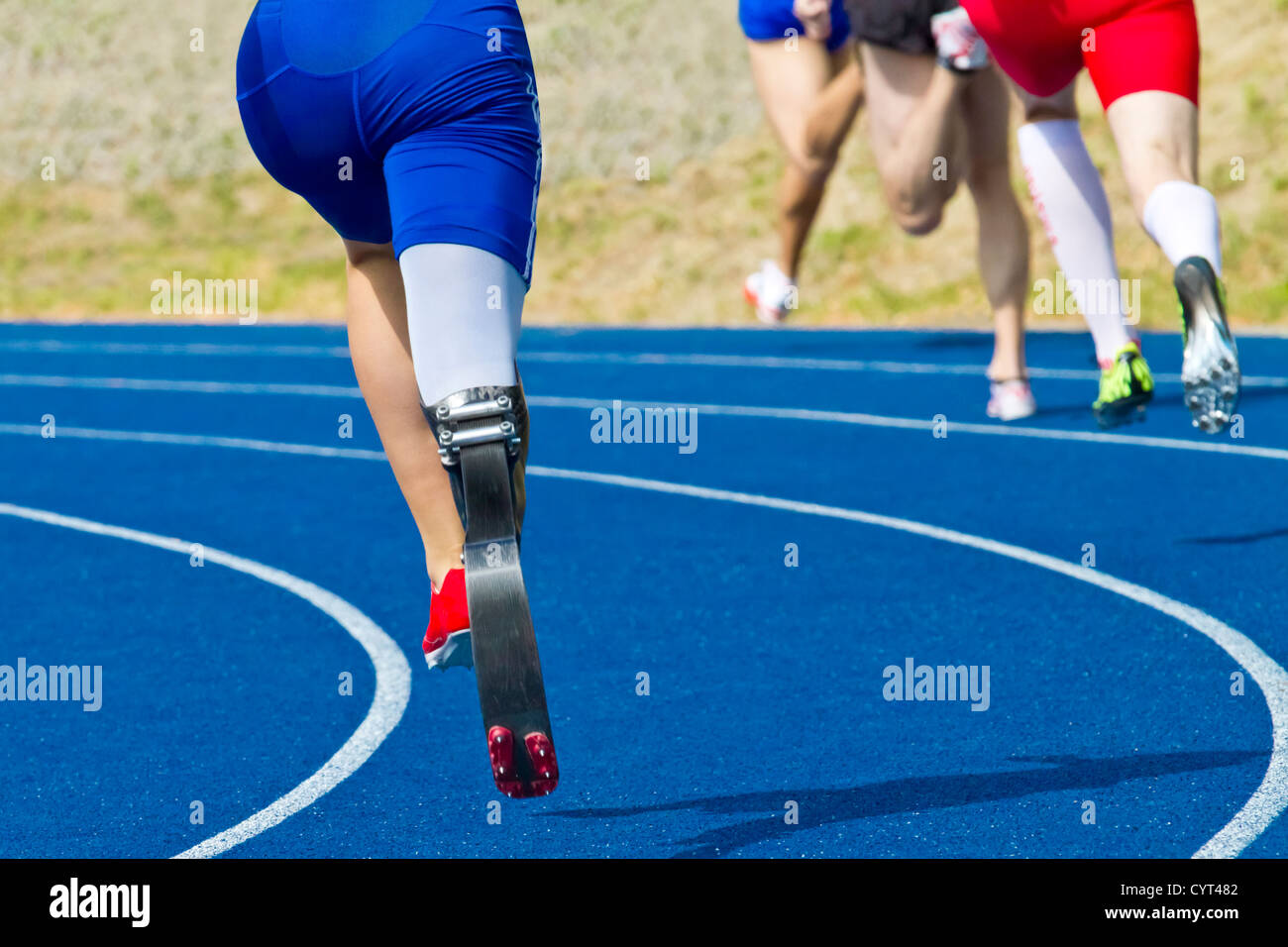 athlete with handicap on race track - Stock Image