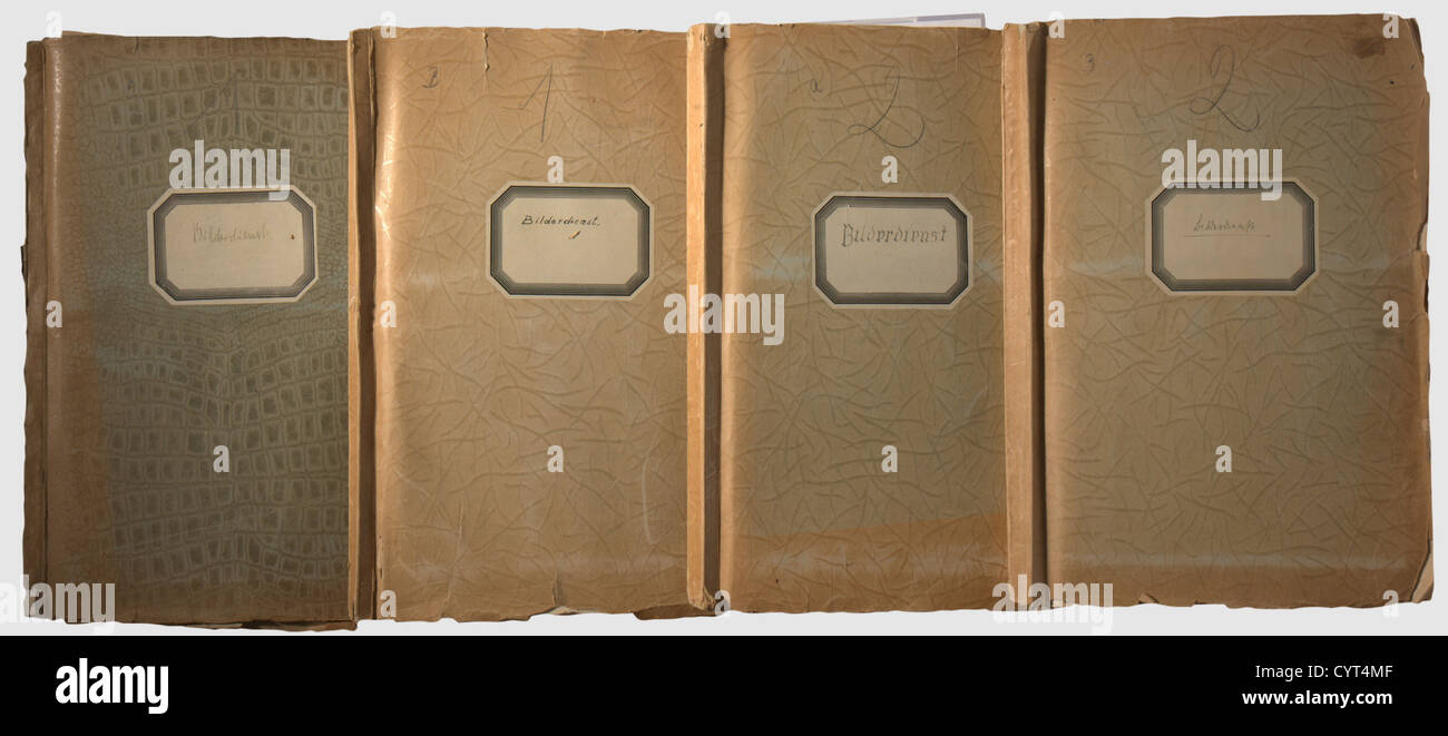 Four photo albums from a photographic agency in the 3rd Reich, Large format images with descriptions Four large - Stock Image