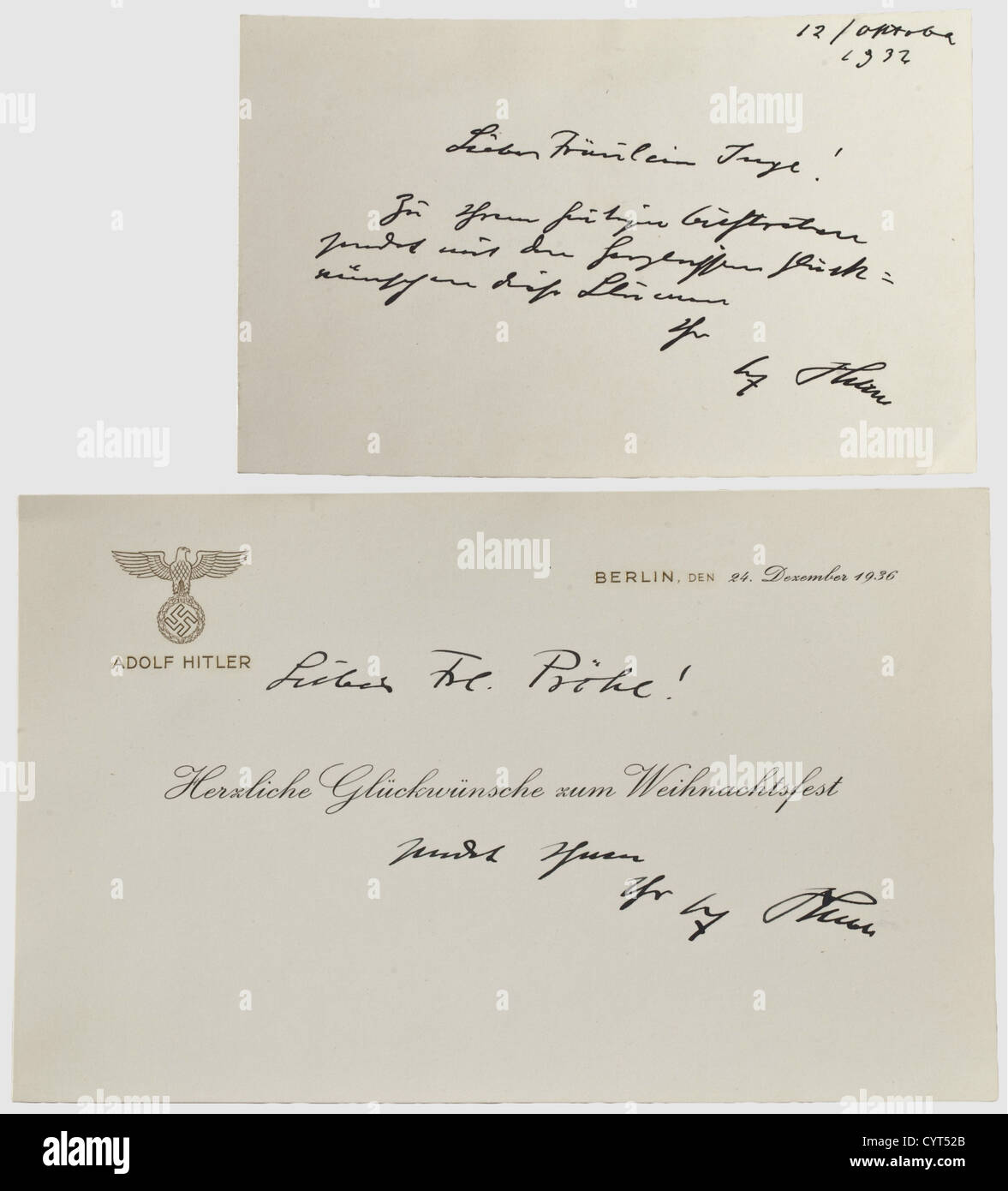 Adolf Hitler, Two greeting cards to Ilse Hess's younger sister Ingeborg Pröhl The first from 12 October - Stock Image