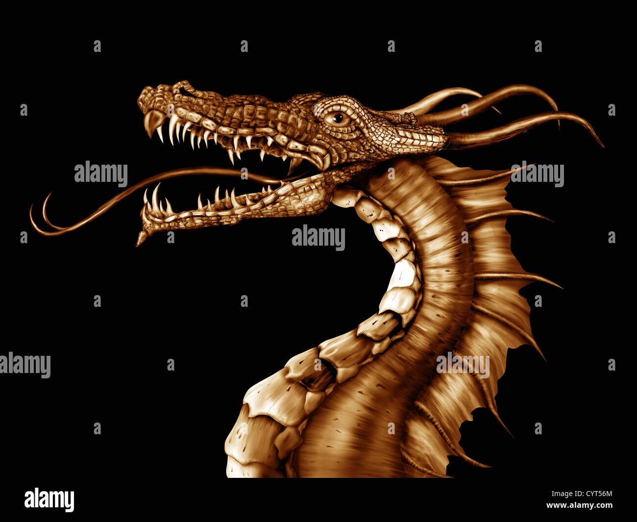 Illustration of a golden dragon on a black background - Stock Image
