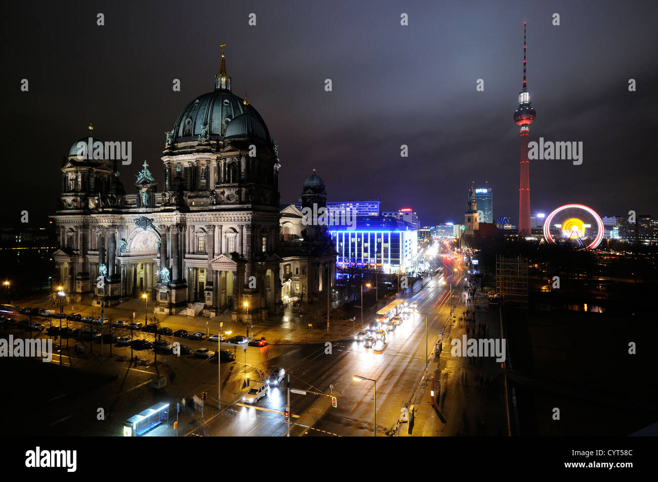 Berliner Dom, Berlin Cathedral, Television Tower, Alexanderplatz square, Ferris wheel, Christmas market, Berlin, - Stock Image