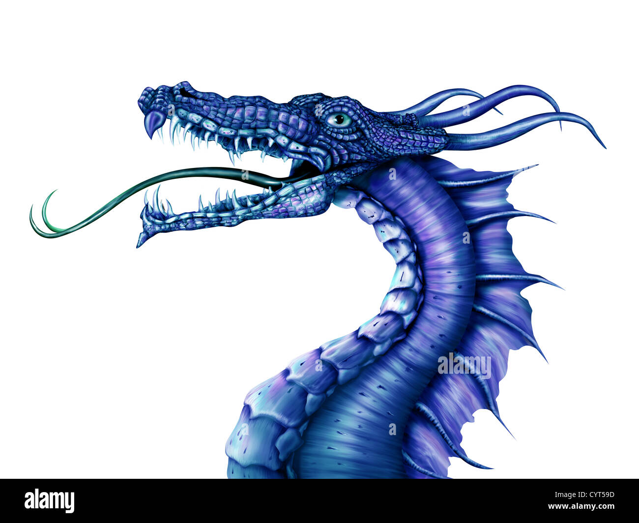 Illustration of a fierce blue dragon on a white background - Stock Image