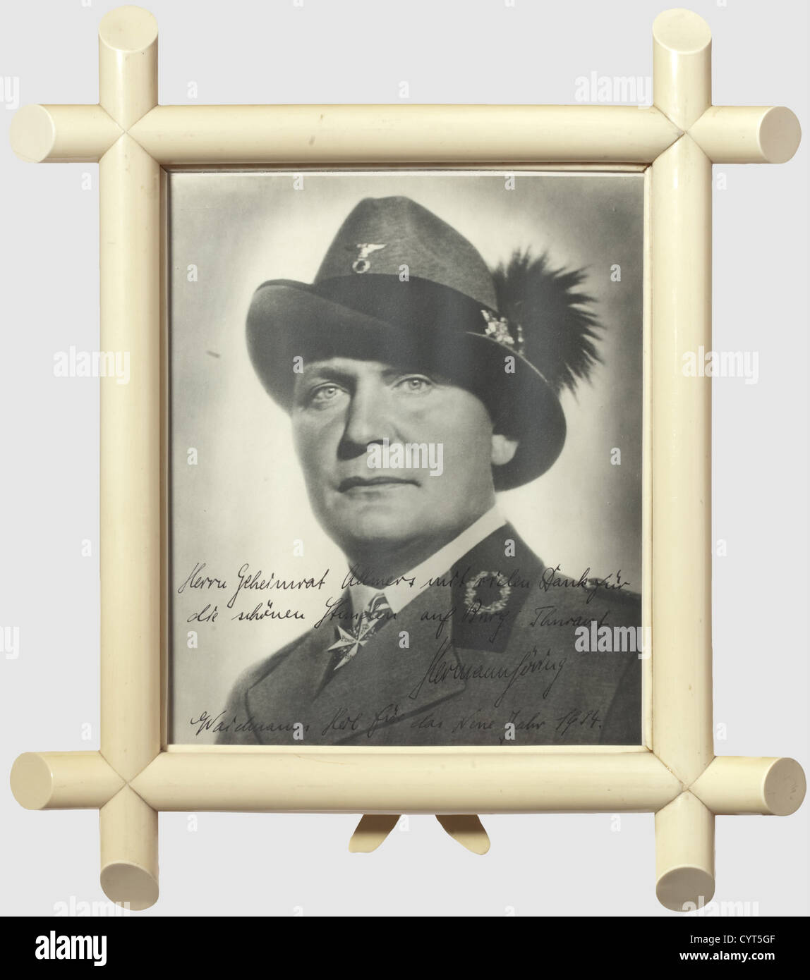 Hermann Göring, a large format photo dedicated to Privy Councillor Robert Allmers 1933/34 A portrait photograph - Stock Image