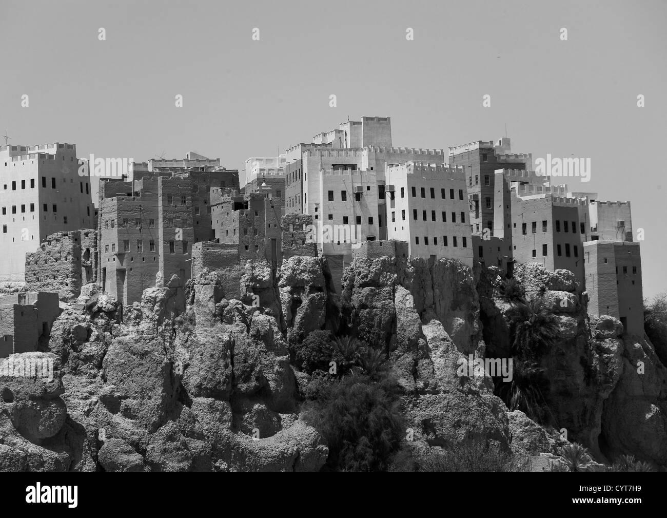 Adobe And Painted Buildings, Al Hajjarin Village,, Wadi Doan, Yemen - Stock Image
