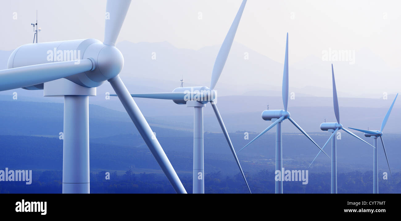 Wind turbine farm against distant mountains (3d graphic) - Stock Image