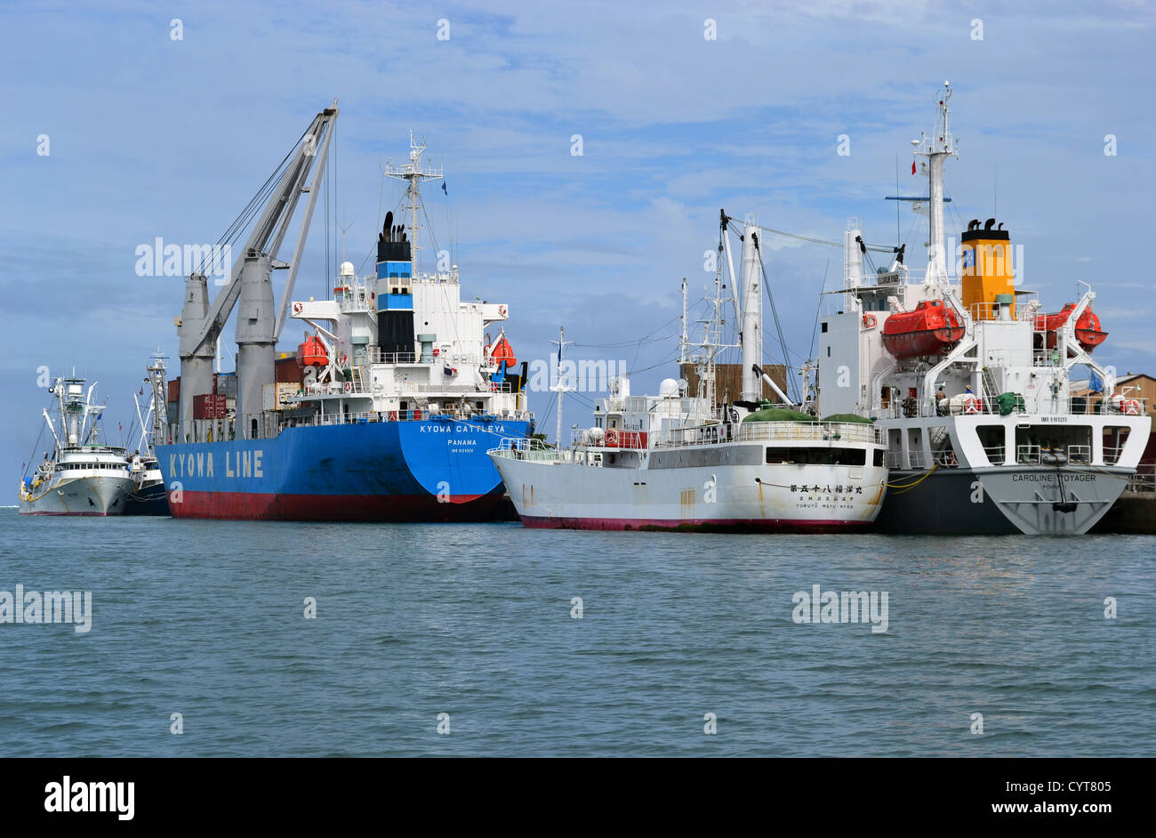 Fishing and cargo ships docked in Pohnpei, Federated States of Micronesia - Stock Image