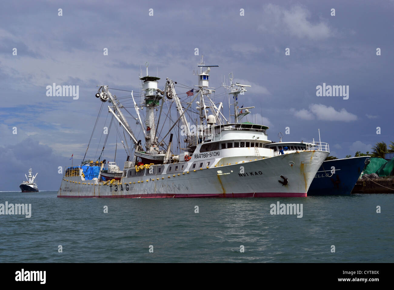 Fishing ships docked in Pohnpei, Federated States of Micronesia - Stock Image