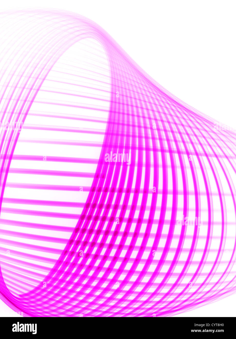 A pink light trail Physiogram on a white background - Stock Image