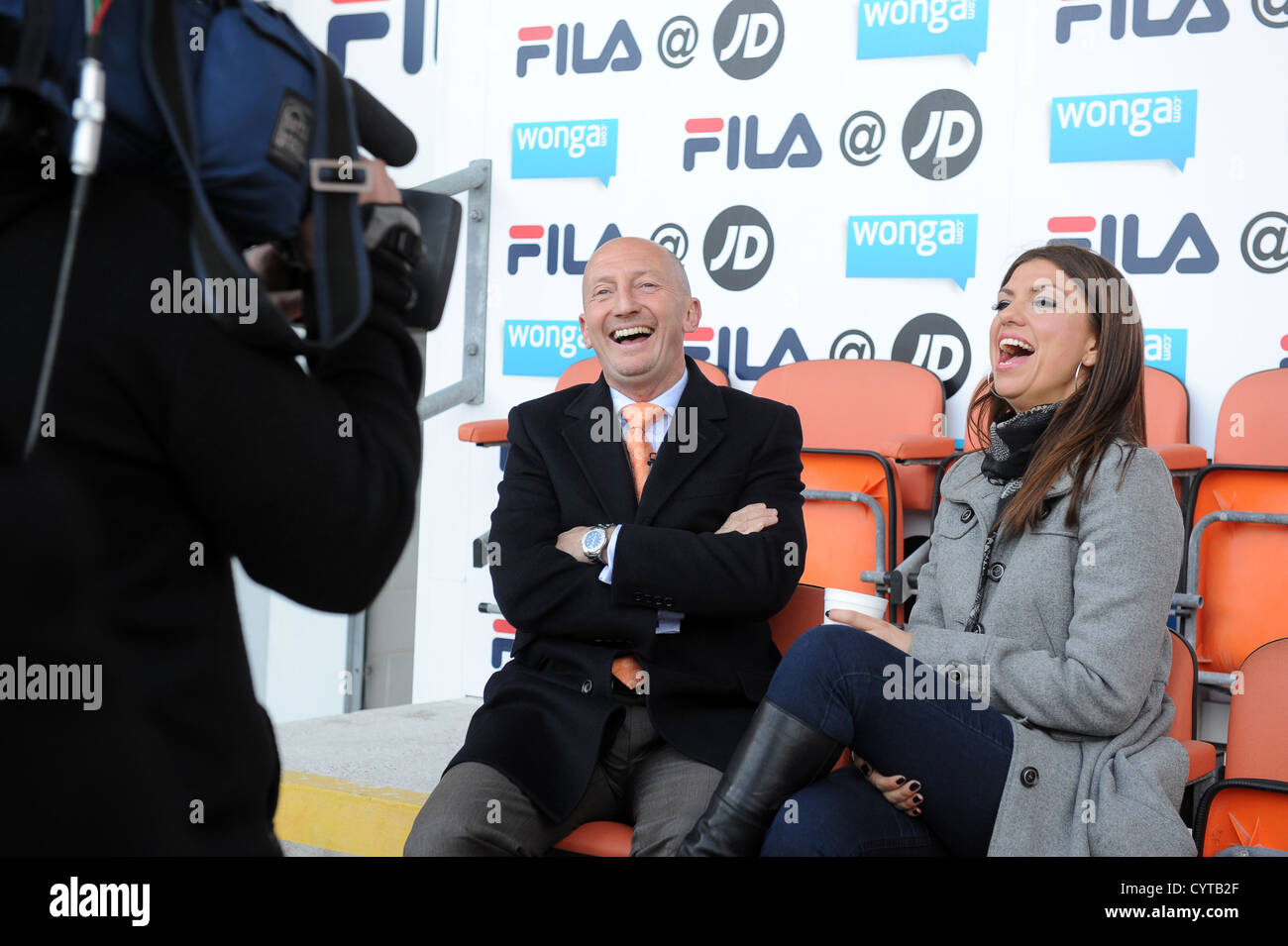 Take It Like A Fan presenter Bianca Westwood inteviewing Blackpool manager Ian Holloway - Stock Image