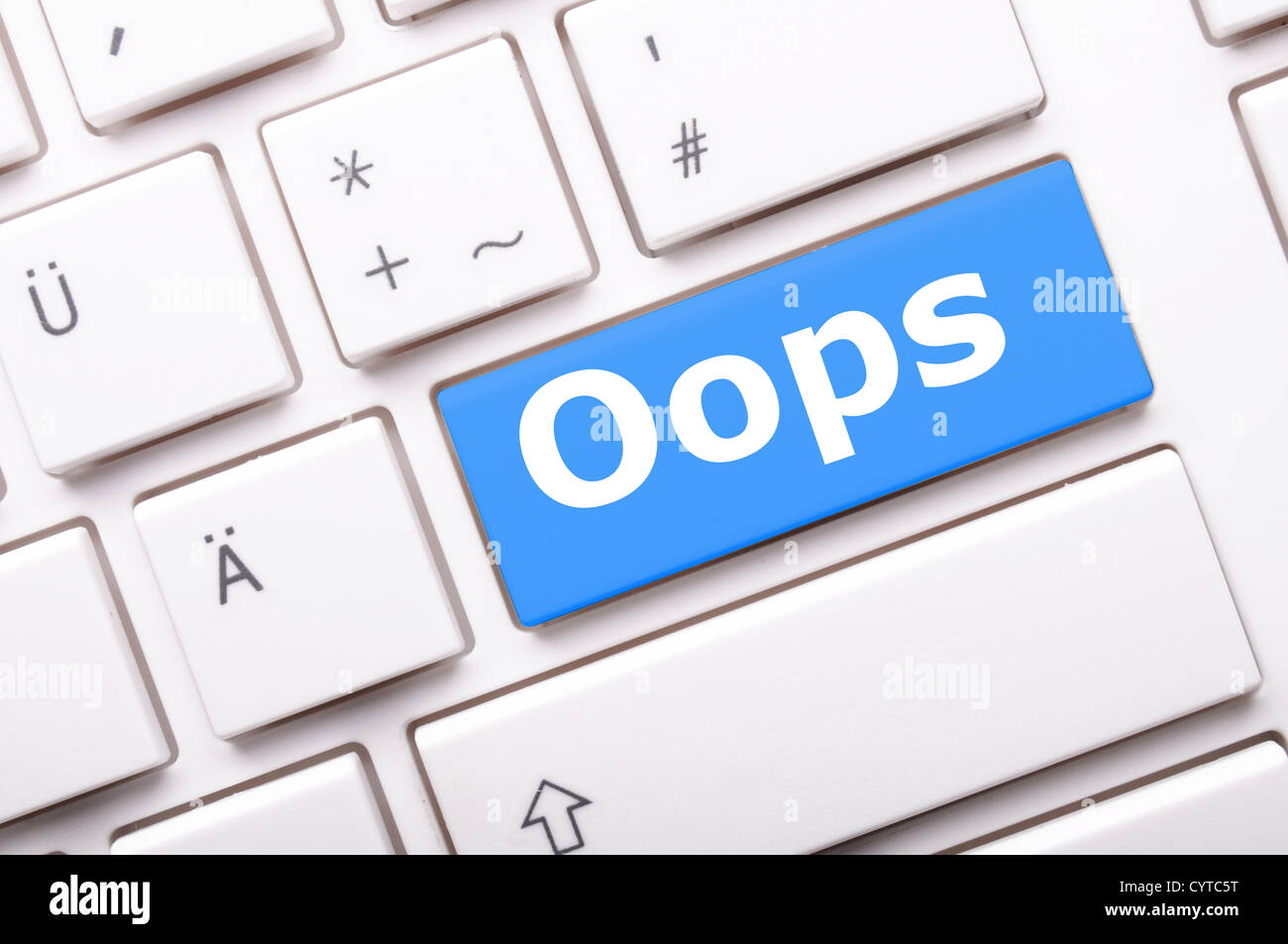 oops word on key showing fail failure mistake or sorry concept - Stock Image