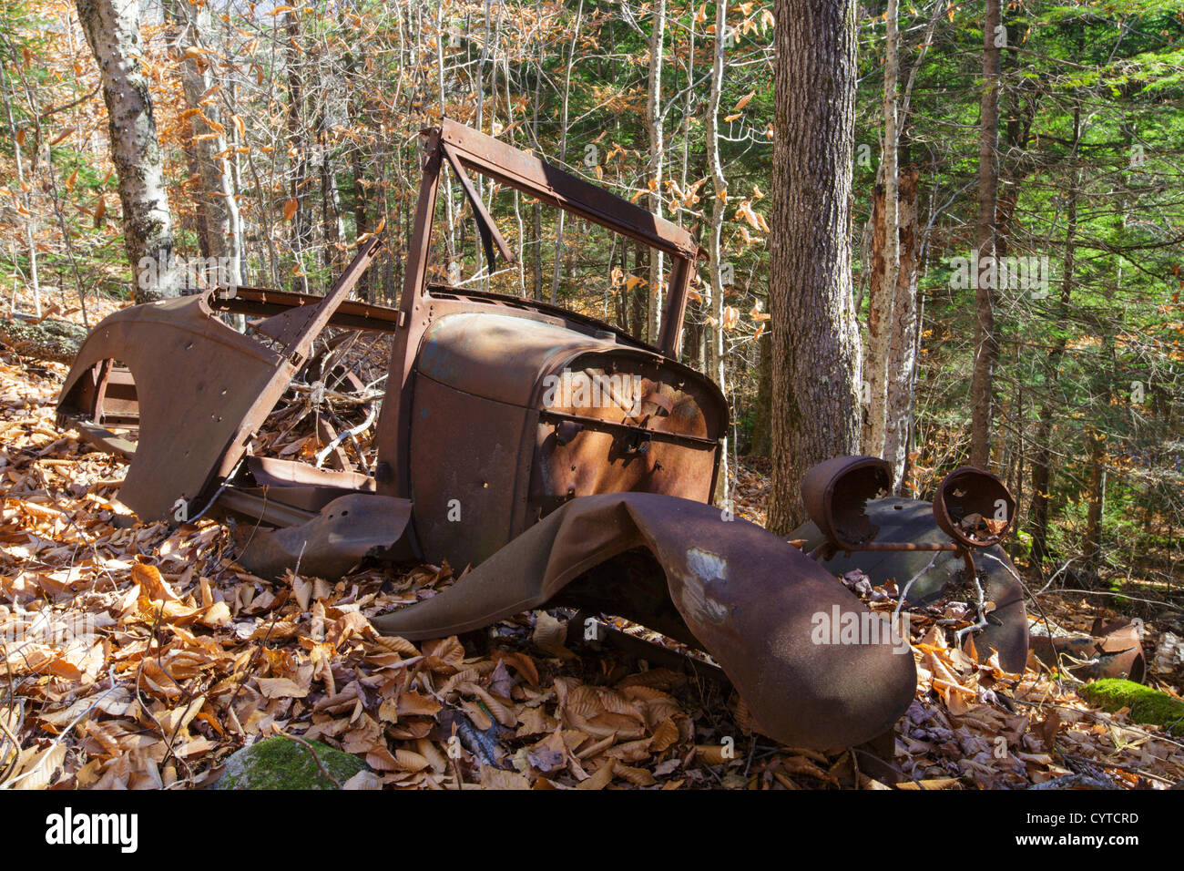 Rusted car in the Eastman Brook drainage of Thornton, New Hampshire USA - Stock Image