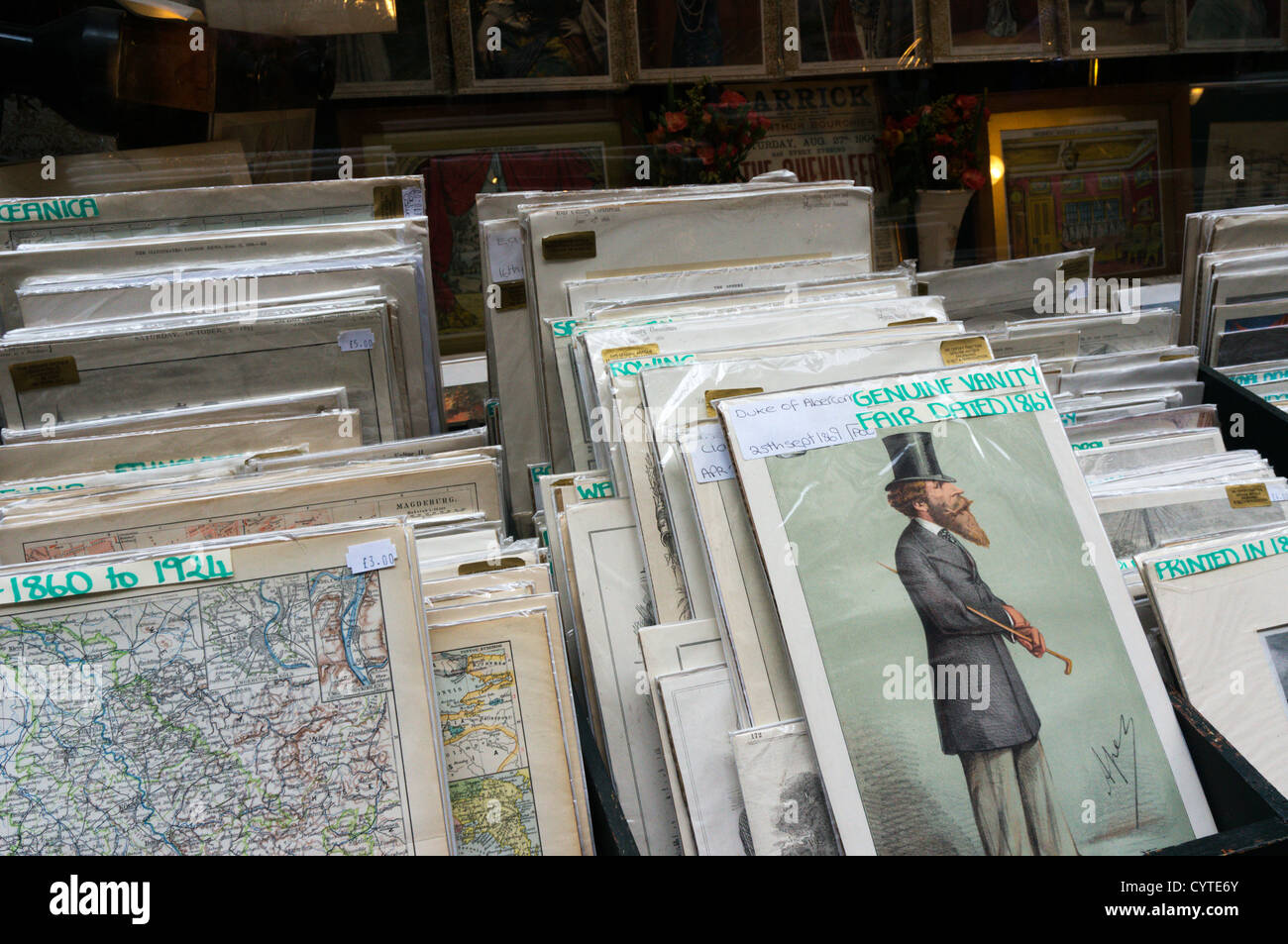 antique prints and maps for sale outside a shop in cecil court central london