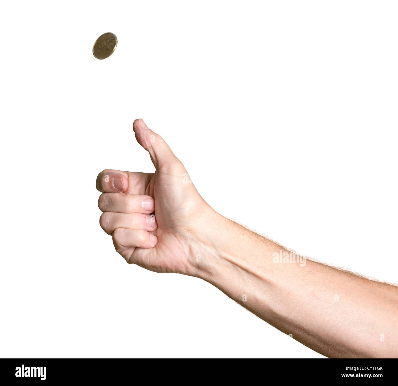 Male bare arm with hand tossing a golden USA coin in the air and spinning towards heads - Stock Image