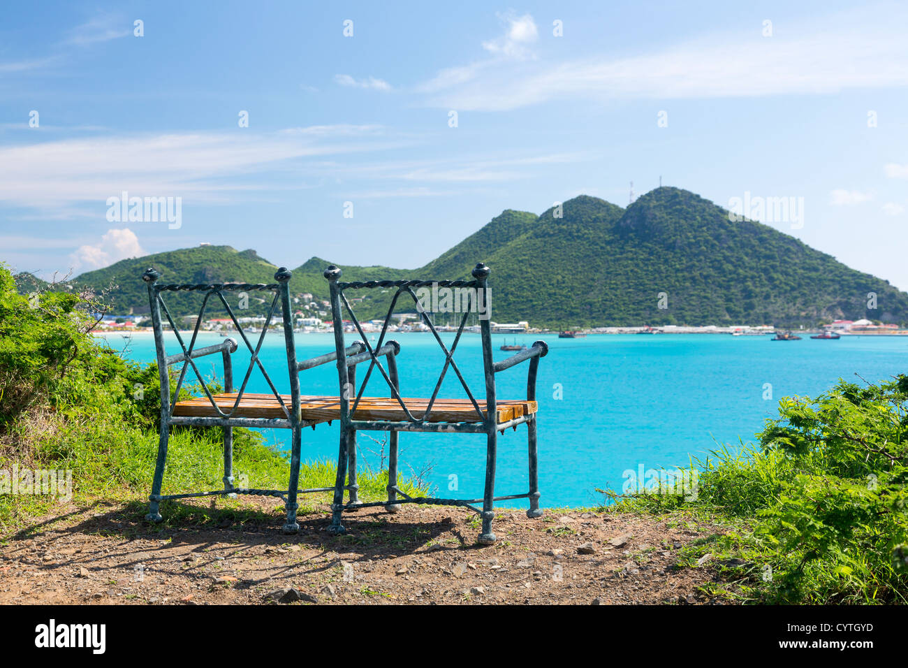 Seat at overlook viewpoint over Philipsburg in St Maarten / St Martin in the Caribbean - Stock Image