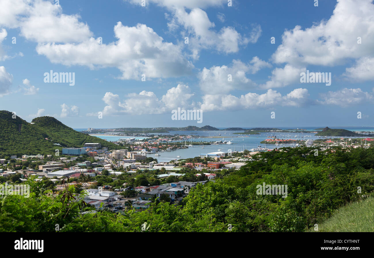 View of Simpson Bay Lagoon towards airport on St Maarten / St Martin in the Virgin Islands, Caribbean - Stock Image
