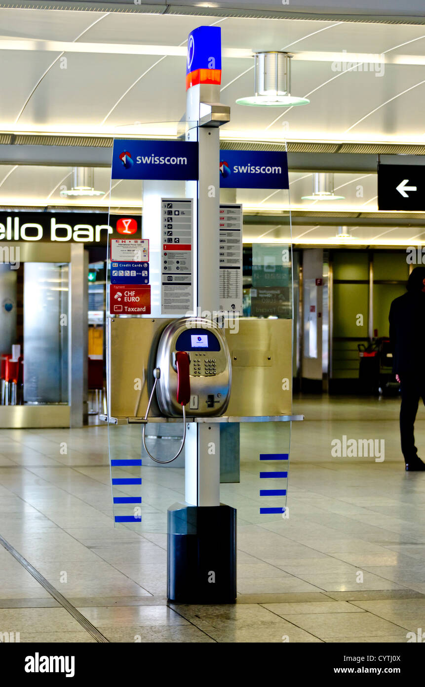 telephone kiosk in the airport in Zurich Switzerland - Stock Image