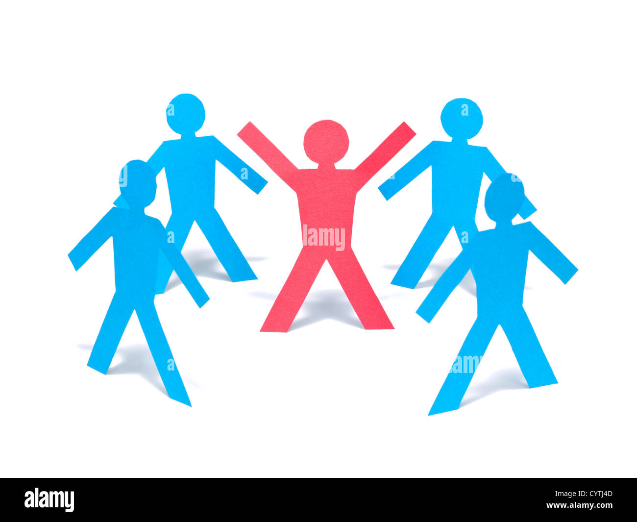 A red paper man is raising his arms among the blue paper men group. - Stock Image