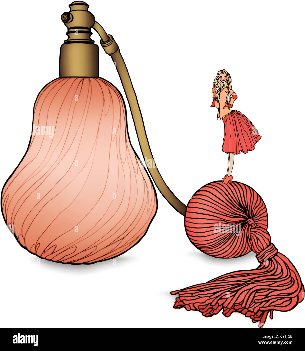 A woman standing on an atomizer of a perfume bottle - Stock Image