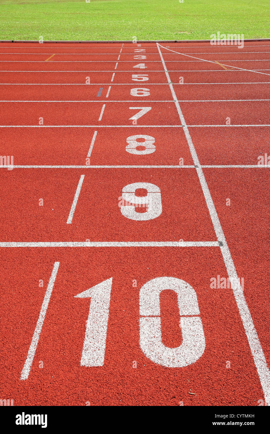 finish point on sport field - Stock Image