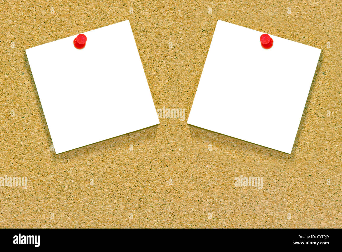 Two blank memo or sticky notes tacked to a cork notice board with copyspace. - Stock Image