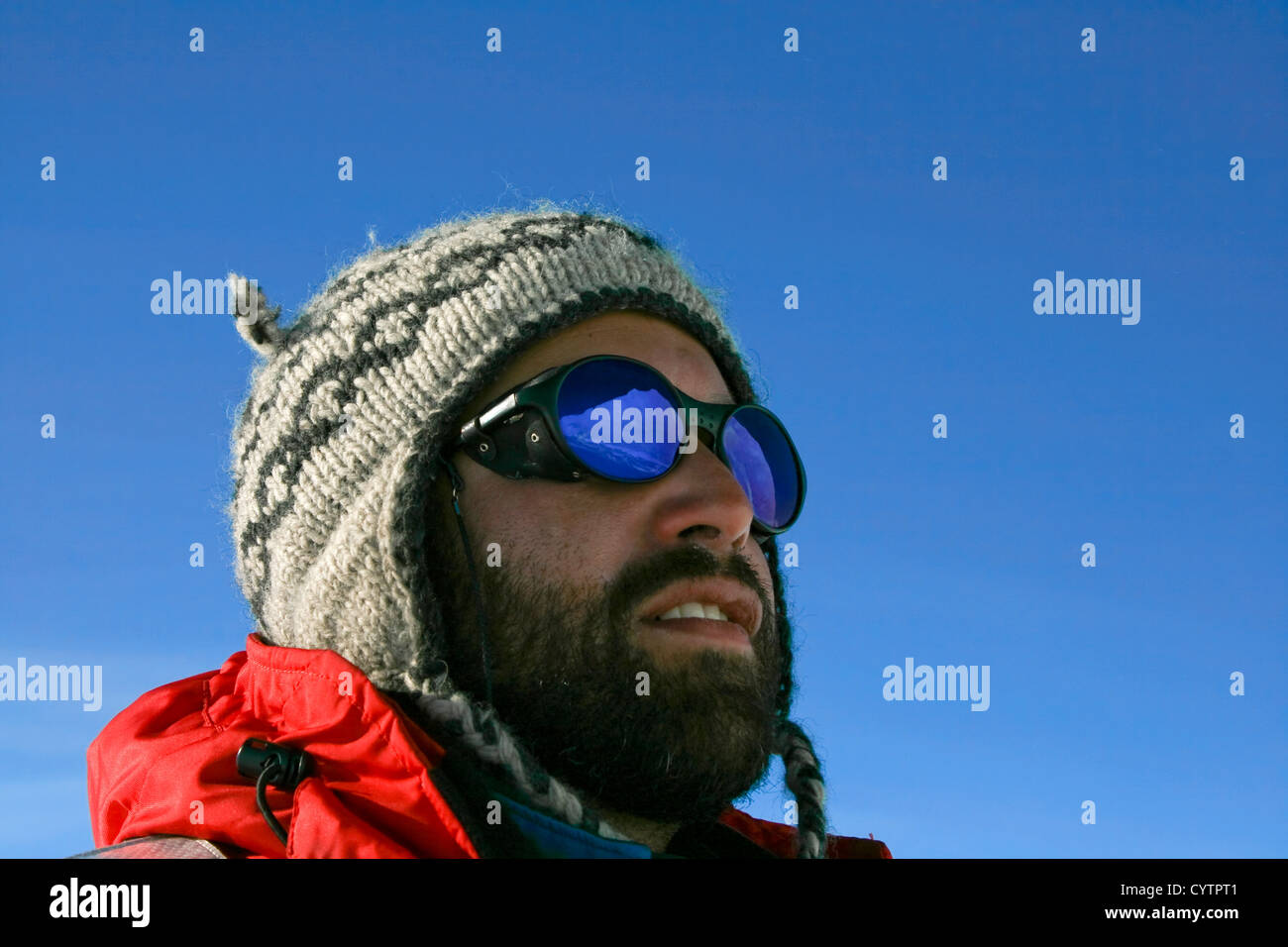 Reflection in the sungalsses of an adventurer on Antarctica - Stock Image