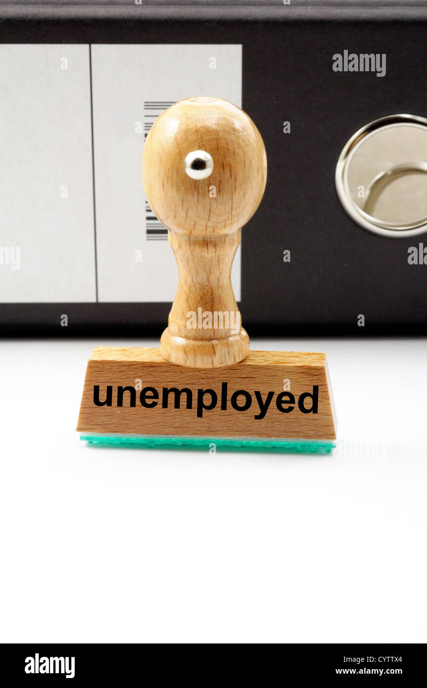 unemployed stamp in office showing job search concept - Stock Image