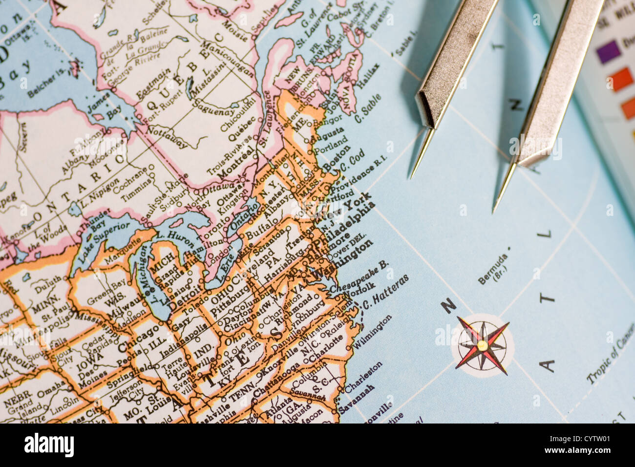 Picture of: Closeup Of A Map Showing Part Of United States Of America With Stock Photo Alamy