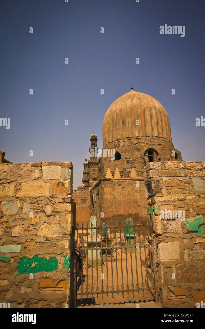 City of the Dead, and mosque of Muhammad Ali of Egypt at citadel Cairo - Stock Image