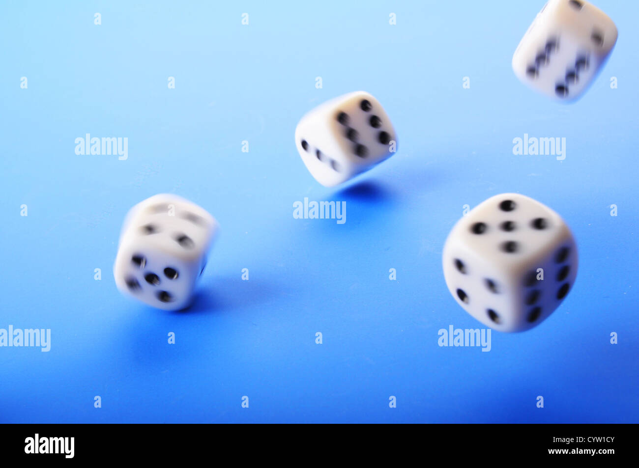 falling dice showing random fortune or casino concept - Stock Image