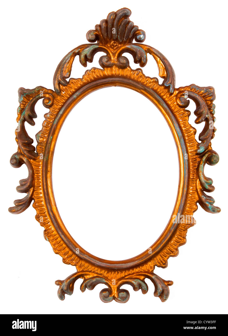 Old Ovall Picture Frame on white background Stock Photo