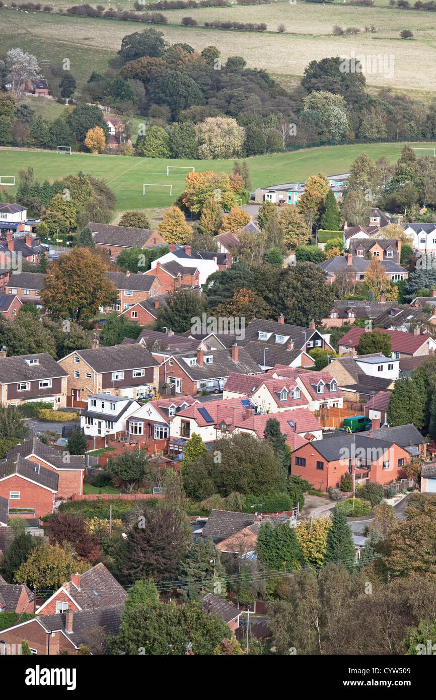 Housing at Kinver near sports field from Kinver Edge,  Staffordshire, England, UK - Stock Image