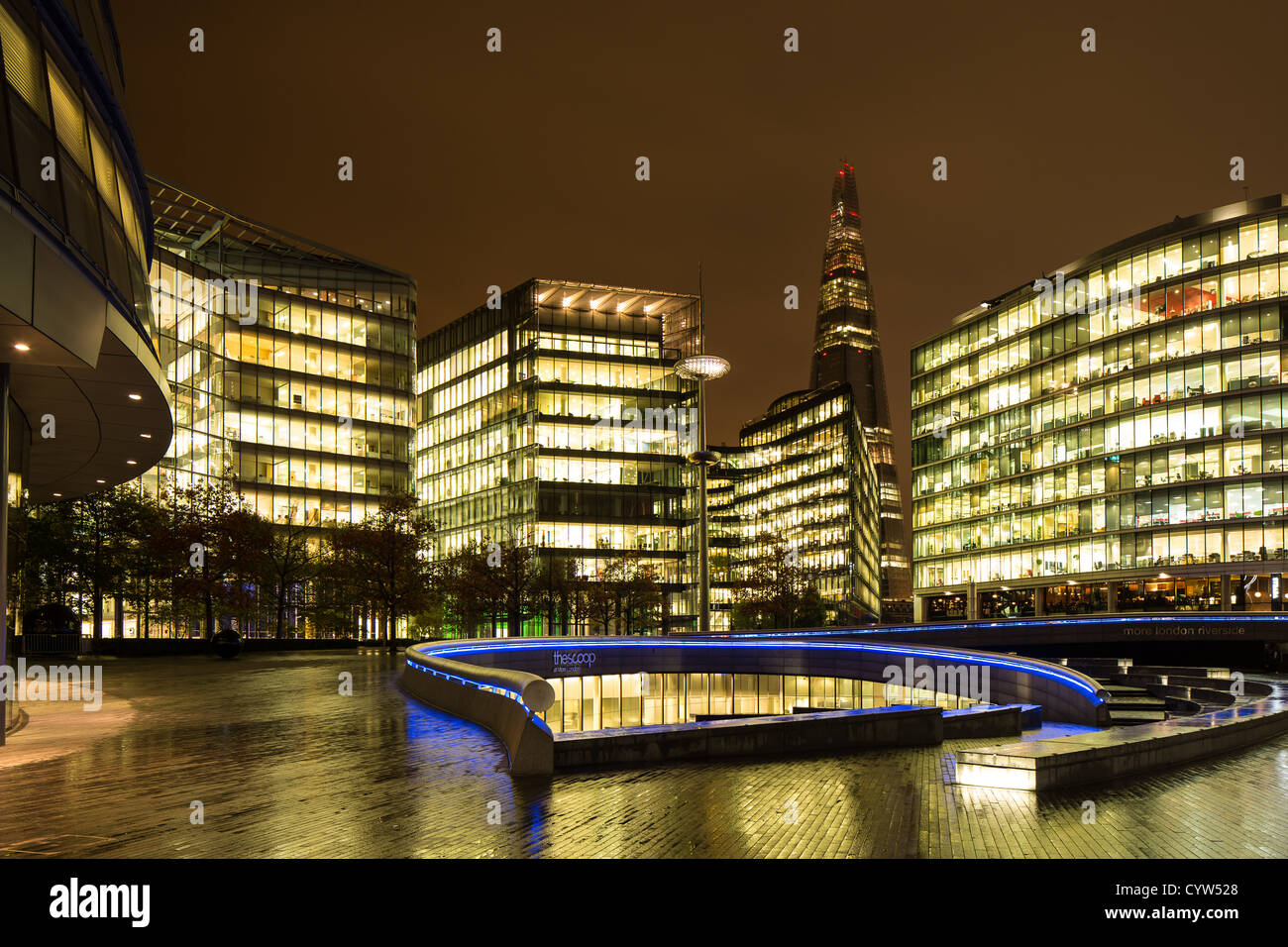 London Assembly and The Shard at night - Stock Image
