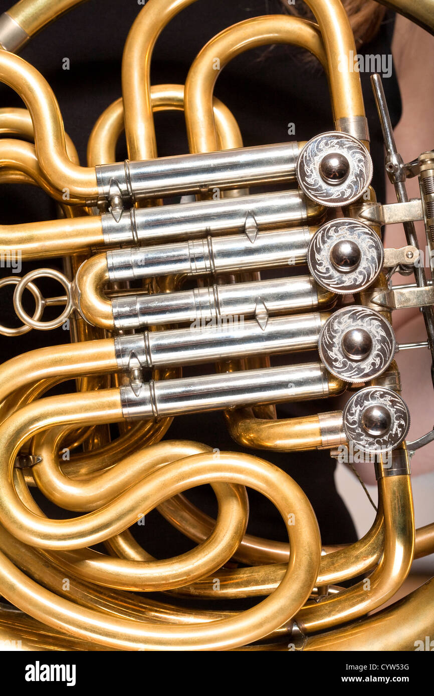 closeup of a concert french horn musical instrument - Stock Image