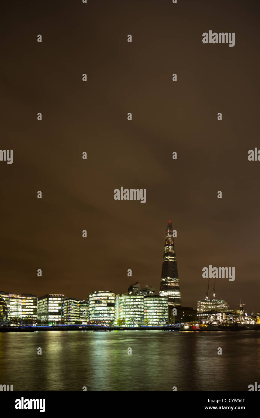 London Assembly and The Shard at night, - Stock Image