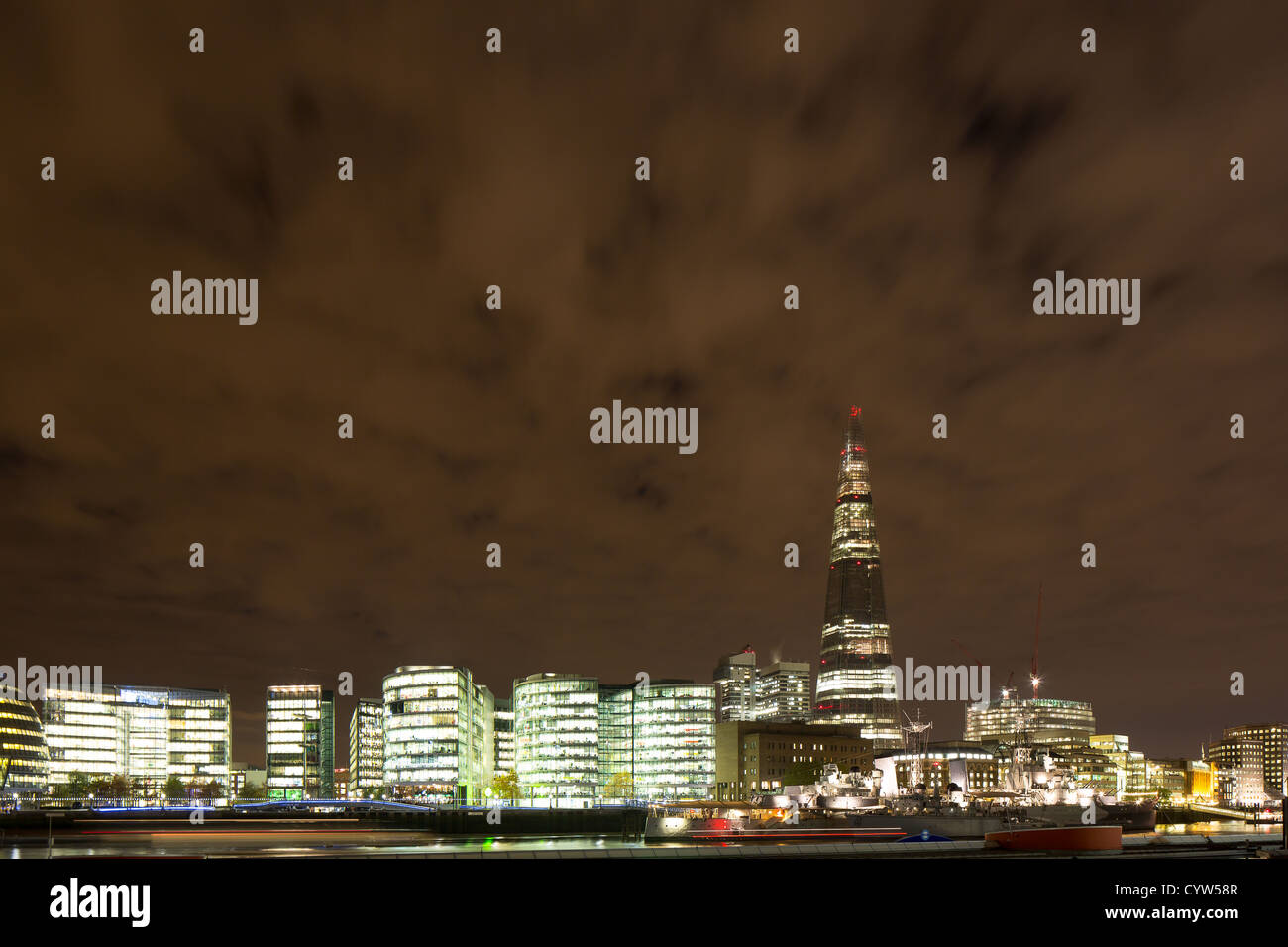 London Assembly and The Shard at night, view from Tower Bridge - Stock Image